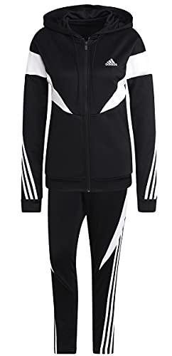adidas Women's W Colorblock TS Tracksuit, Black/White, L