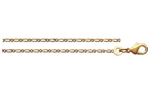 Ascalido fijne ketting, verguld, voor heren, 50 cm, 1,4 mm, figaroketting