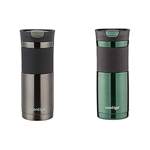 Contigo SNAPSEAL Byron Stainless Steel Travel Mug, 20 oz, Gunmetal AND Contigo SNAPSEAL Byron...