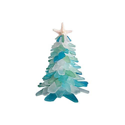 Hitrume 2020 DIY Crystal Blue Green Resin Sea Glass Christmas Tree, Creative Unique Christmas Decoration Sea Beach Resin Christmas Tree for Home Office Décor (5.9'')