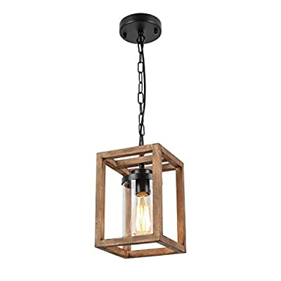 HMVPL Wooden Pendant Lighting Fixtures, Wood Black Farmhouse Hanging Chandelier Swag Lamp with Glass Shade, Mini Industrial Ceiling Lights for Kitchen Island Dining Room Over Sink Hallway Bedroom