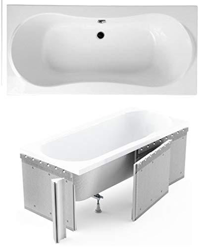 ECOLAM Badewanne Wanne Rechteck Long Acryl weiß 170x80 cm Mittelablauf + Styroporverkleidung zum Verfliesen + Ablaufgarnitur Ab- und Überlauf Automatik Füße Silikon Komplett-Set