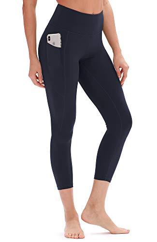 icyzone Damen Hohe Taille Sport Leggings Yoga Pants Sport Hose Jogginghose mit Tasche (S, Navy)