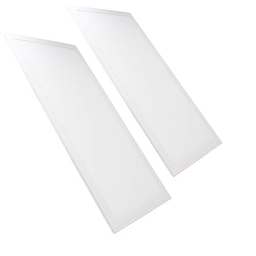 FactorLED Pack 2x Panel LED 60x30 cm 24W, Marco Blanco, 2 unidades Lampara LED para Falso Techo, Placa LED para Techo Técnico, Bajo Consumo, 2400 Lumenes, (Blanco Neutro)