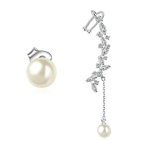 Daesar Women Earrings White Gold, White Gold Plated Earrings For Women Irregular Pearl Cubic Zirconia Earring White Gold