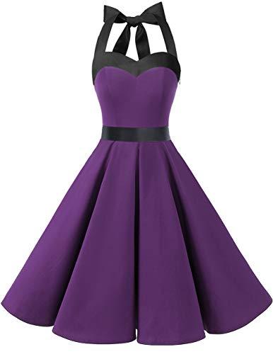 DRESSTELLS Damen Neckholder 1950er Vintage Retro Rockabilly Kleider Petticoat Faltenrock Cocktail Festliche Kleider Purple Black L