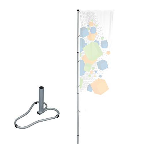 Vispronet® Mobiler Alu-Fahnenmast T-Pole® 200 ✓ stufenlos einstellbar ✓ Teleskopmasten ✓ drehbarer Ausleger ✓ Aluminium eloxiert (Standfuß)