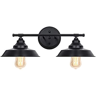 Farmhouse Bathroom Light Fixtures, Black Industrial 2 Light Wall MountVanity Sconce for Mirror Cabinets Dressing Table
