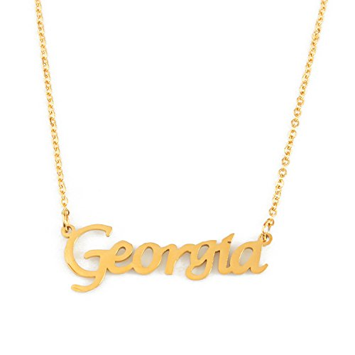 Kigu Georgia Personalized Name - 18ct Gold Plated Necklace - Adjustable Chain 16' - 19' Packaging
