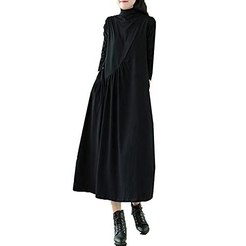 Dames zomer casual onderbroek lange mouwen jurk vrouwen lente en zomer retro losse wilde hoge hals halflange jurk, Zwart, XXL
