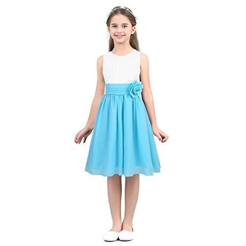 IEFIEL Vestido Elegante de Fiesta Boda Dama de Honor Gasa Vestido Blanco de Flores Princesa Vestido de Ceremonia Cumpleaños para Niña Chica 4-14 Años Azul cielo 14 años
