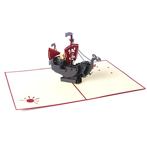 Xiangrun Karten Geburtstags-Karten, Geschenk-Karte - 3D-Up-Karte Piraten-Schiff Tag Kindergeburtstag danken Grüße Weihnachten