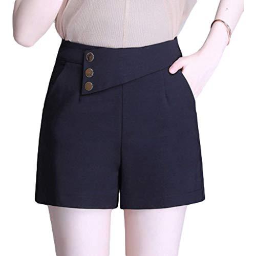 Pantalones Cortos Decorativos abotonados de Cintura Alta a la Moda para Mujer Pantalones Cortos de Color sólido adelgazantes Finos Informales de Verano con Cremallera Trasera Medium