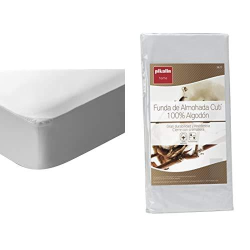 Pikolin Home - Protector De Colchón Punto, 100% Algodón, Impermeable Y Transpirable + - Funda De Almohada Cutí, 100% Algodón Satén, 40X105Cm (Todas Las Medidas)