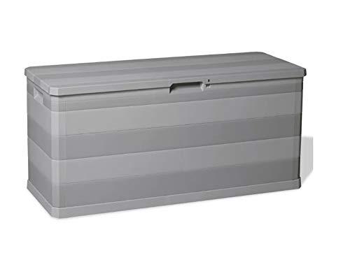 Pissente Garten Aufbewahrungsbox,Aufbewahrungsbox Garten Aufbewahrungsbox Braun Auflagenbox Wasserdicht und feuchtigkeitsbeständig Poly Rattan 150 x 100 x 100 cm Hellgrau