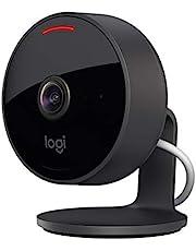 Logitech Circle View-beveiligingscamera met draad, groothoeklens van 180°, 1080p, nachtzicht, 2-wegs audio, kantelen voor privacy, versleuteld en compatibel met veilige video in Apple HomeKit - Zwart