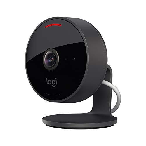 Logitech Circle View Cámara de seguridad doméstica con cable resistente a la intemperie, angular de 180°, HD 1080p, visión nocturna, audio de dos vías, con cifrado y Apple HomeKit Secure Video - Negro