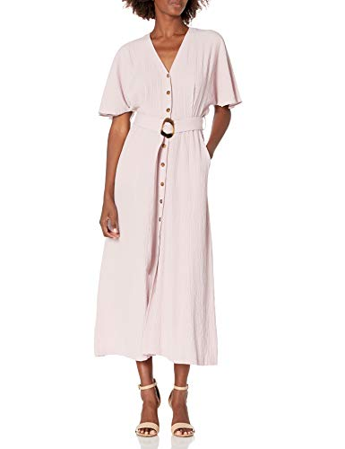 Calvin Klein Women's V-Neck Maxi Dress with Button Front and Belt, Dusty Mauve, 6