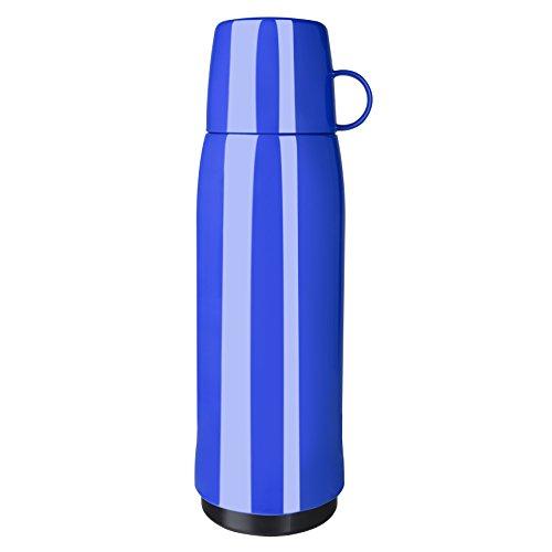 Emsa 518515 Rocket Isolierflasche, 0,9 Liter, 12h heiß, 24h kalt, mit doppelwandigem Isolierkolben aus Glas, BPA frei, blau