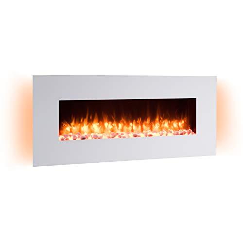 RICHEN Elektrokamin Yoash - Elektrischer Wandkamin Mit Heizung, LED-Beleuchtung, 3D-Flammeneffekt & Fernbedienung - Elektrischer Kamin Weiß