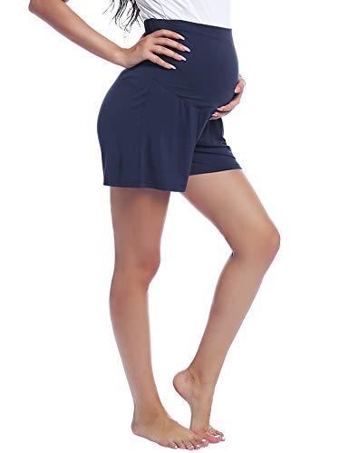 Shorts Schlafanzug/Pyjama/Yoga Hose für Schwangere Umstands Hosen Leichte(Marineblau,S)