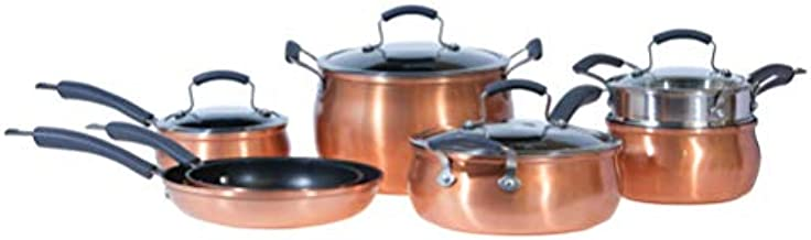 Epicurious Cookware Collection- Dishwasher Safe Oven Safe, Nonstick Aluminum 11 Piece Copper Cookware Set