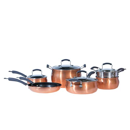 Epicurious Cookware Collection- Dishwasher Safe Oven Safe, Nonstick Aluminum 11 Piece Copper...