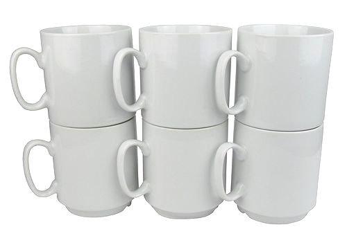 Retsch Arzberg Kaffeebecher 'Robert', Porzellan, 300ml, stapelbar, weiß (6 Stück)