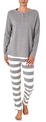 Damen Pyjama Schlafanzug mit gestreifter Hose - Kuschel Interlock - auch in Übergrössen, Farbe:grau-Melange, Größe2:44/46