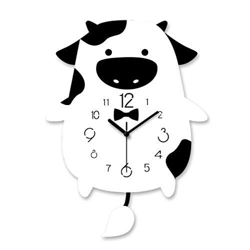 JYCTD Niños Reloj de Pared, Acrílico Creativo DIY Arte Gran Mute Cartoon Swing Tail Sala de Estar Decorativa Dormitorio para niños Cocina Hogar 30Cmx40Cm, White