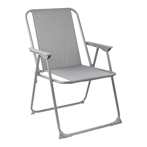 Harbour Housewares Folding Metal Beach Garden Camping Armchair - Grey -...