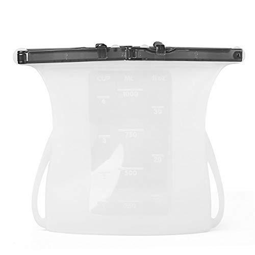 Harddo herbruikbare siliconen voedingszak, 1 stuks beweegbare siliconen, voor levensmiddelen geschikte zakjes wit