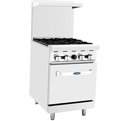 "CookRite ATO-4B Commercial Liquid Propane Range 24"" 4 Burner Hotplates With Standard Oven For Restaurant - 116,000 BTU"