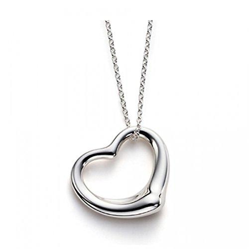 Designer Inspirations Boutique - Collana con pendente a forma di cuore, placcato in argento Sterling 925, dimensione grande Una creazione di Designer Inspired.