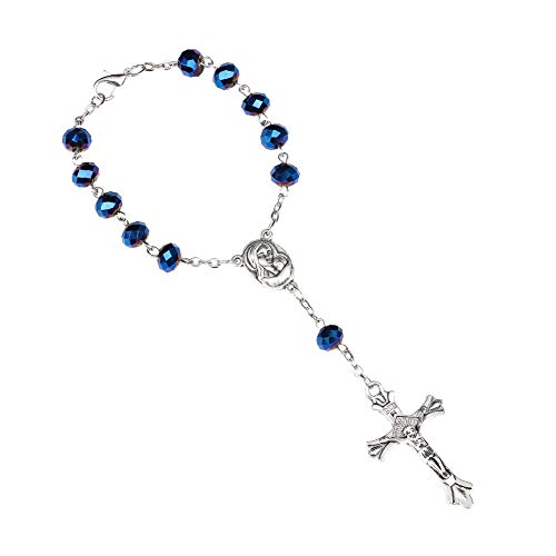 GuDeKe Azul Cuentas de Vidrio Pulsera de Rosario Cruz de aleación Pulsera Virgen María Jesús Religioso Cristianismo Rosario católico