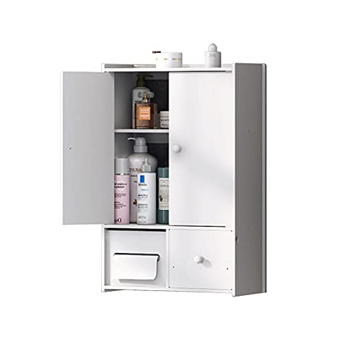WQEUN Scaffale Bagno WC Mobile Mobile sopra Toilettes Opzioni di Dimensioni Multiple Sistema Antiribaltamento Bianco,B