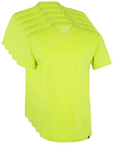 Ultrasport Herren Sport Freizeit T-Shirt mit V-Ausschnitt 5er Set, Grün, L