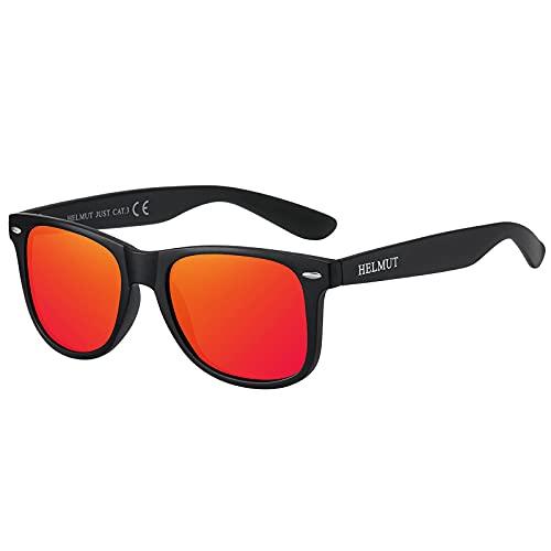 H HELMUT JUST Gafas De Sol Para Hombre y Mujer Polarizadas Clásico Wayfarer Cuadrado Montura Ligero de TR90Rojo Topi Espejo
