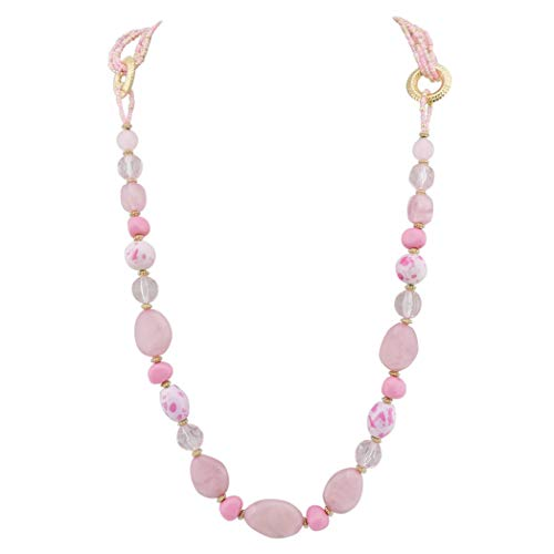 Bocar Long Multilayer Beaded Necklace for Women Gift (NK-10349-pink)