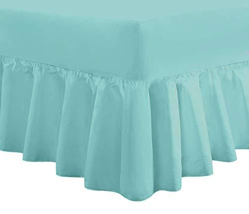 Divine Textiles Luxus-Volant-Spannbettlaken, extratief gefältelt, Polycotton, duck egg, Doppelbett
