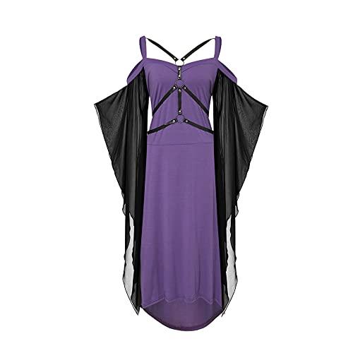 Anaike Vestido gótico para mujer de malla larga transparente manga punk vendaje empalme correa honda vestido de Halloween vestido de fiesta, Morado (, L