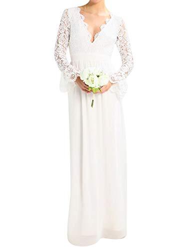 HUINI Damen Brautkleid Hochzeitskleid Lang Rückenfrei Spitzenkleid Standesamt Kleid Ballkleid Abendkleid mit Ärmel Elfenbein 36