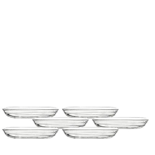 Leonardo Gusto Struttura Teller, 6-er Set, Durchmesser 17 cm, hitzebeständiges Klarglas mit Struktur, 038110