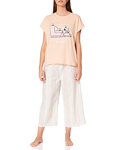 Women' Secret Short Sleeves Capri Pant Pyjama Pijama, Naranja, L para Mujer