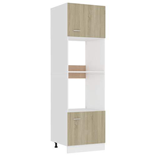 vidaXL Armario de Cocina Muebles Mobiliario Duradero Mesa de Trabajo Almacenamiento Cuencos Ollas PlatosAlacena Aglomerado Roble Sonoma