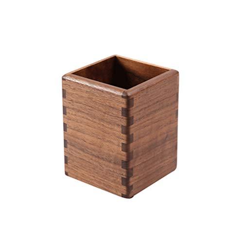 Soporte para bolígrafos de madera maciza de nogal negro, soporte multifuncional para lápices, para escritorio, regalo de oficina, 10,9 x 8,4 x 6,9 cm (color: 1 unidad)