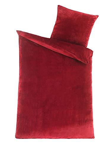 MALIKA Winter Plüsch Bettwäsche Nicky-Teddy Cashmere Coral Fleece 135x200 155x220 200, Größe:135 x 200 cm, Designe:Bordo