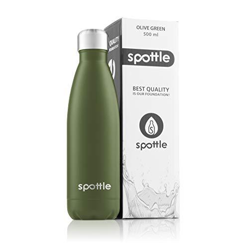 spottle Thermosflasche 500ml / Edelstahl Trinkflasche, Isolierflasche für die Schule, Unterwegs, Tee oder Kaffee - leicht, kompakt und auslaufsicher