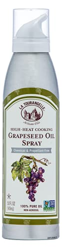 La Tourangelle, Grapeseed Oil Spray, High Heat Expeller-Pressed Cooking, Grilling, and Skin and Hair Care Spray, Propellant Free and Non Aerosol, Cast Iron Seasoning, 5 fl oz