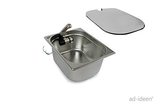 Edelstahl Spülbecken Camping Spüle Waschbecken + Ablauf + Spülbeckenabdeckung passend 325x265x150mm Barwig Wasserhahn integriert (ad-ideen)